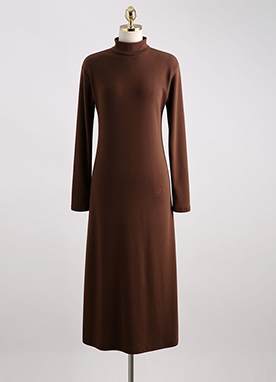 Mock Neck Fleece-lined Long Flared Dress, Styleonme