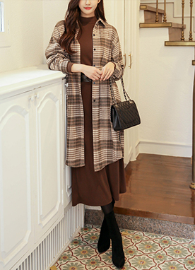 Cafe Latte Warm Long Check Flannel, Styleonme