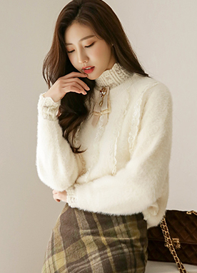 Petite Lace Fuzzy Jumper, Styleonme