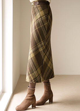 30 Wool mix Side Split Check Maxi Skirt, Styleonme