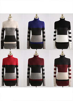 Color Stripe Ribbed Jumper, Styleonme