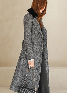 Detachable Fur Boucle Double Breasted Long Coat, Styleonme