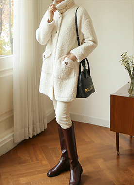 70 Wool mix Boucle Half Coat, Styleonme