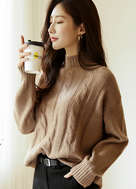Perfect Cable Knit Mock Neck Jumper, Styleonme