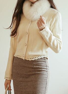 Romantic Pearl Button Cardigan, Styleonme