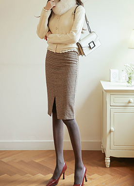 5 Wool mix Front Split Check Pencil Skirt, Styleonme
