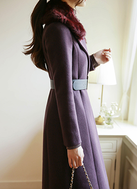 5 Wool mix Fur Collared Coat with Belt, Styleonme