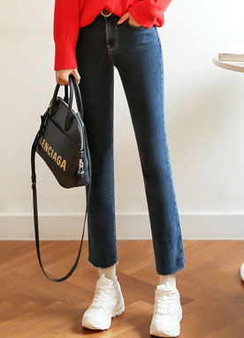 Fleece-lined Raw Hem Straight fit Jeans, Styleonme