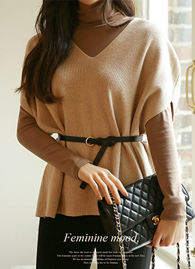 Deep V-neck Drop Shoulder Knit Vest with Belt, Styleonme