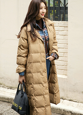 Belted 80 Duck Down mix Puffer Coat, Styleonme