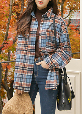 Double Pocket 15Wool mix Padded Oversized Flannel, Styleonme