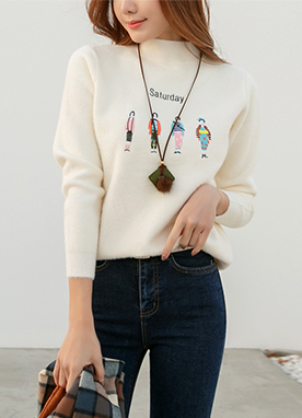 Soft Brushed Saturday People Jumper, Styleonme