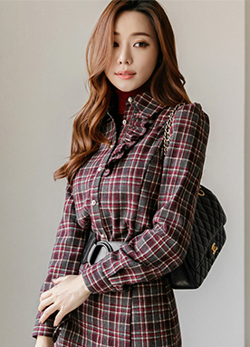 5 Wool mix Tartan Check Blouse, Styleonme