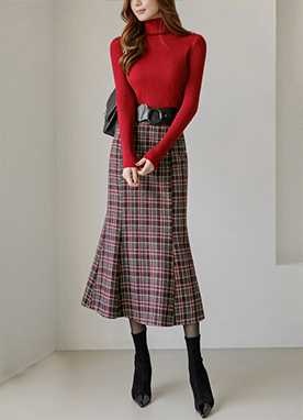5 Wool mix Maxi Tartan Check Mermaid Skirt, Styleonme
