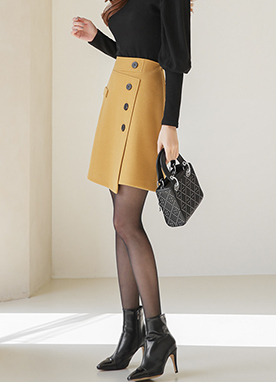 Unbalanced Button Wrap Style A-line Skirt, Styleonme