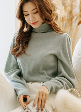 Cashmere and Wool mix Puff Sleeve Turtleneck Knit Top, Styleonme