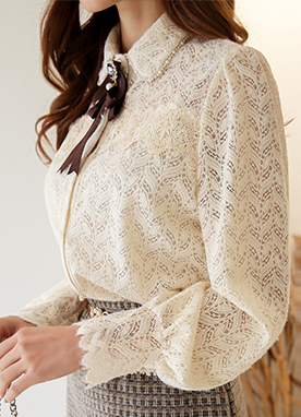 Romantic Lace and Ribbon Brooch Set Blouse, Styleonme
