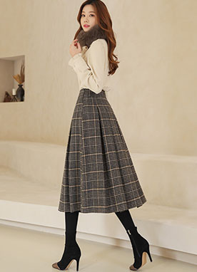 Pleated Tartan Check Midi Skirt, Styleonme