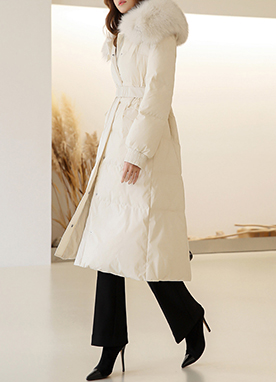 Belted Long Puffer Goose Down Coat, Styleonme