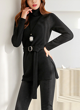 Belted Long Turtleneck Top, Styleonme