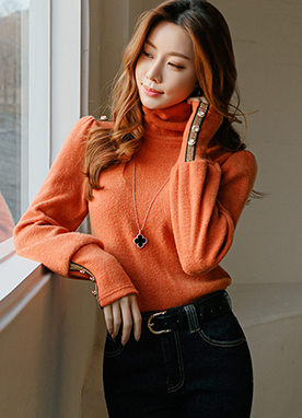 Gold Shoulder Button Turtleneck Knit Top, Styleonme