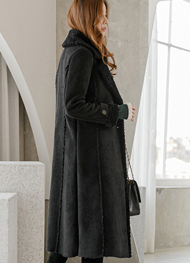 Feminine Long Eco Shearling Coat, Styleonme