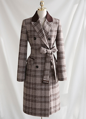 Classic Belted Wool Blend Check Coat, Styleonme