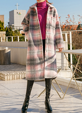 Button Up Check Wool Coat, Styleonme