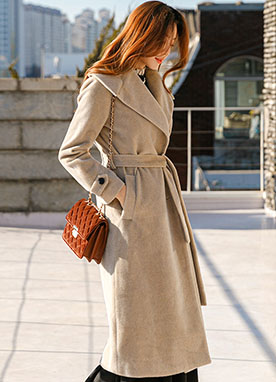 Wide Collar Belted Long Wool Coat, Styleonme