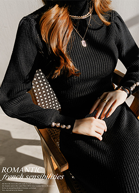Glamorous Figure Puff Sleeve Ribbed Knit Dress, Styleonme