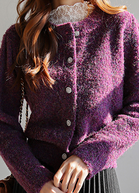 Gem Button Boucle Cardigan, Styleonme