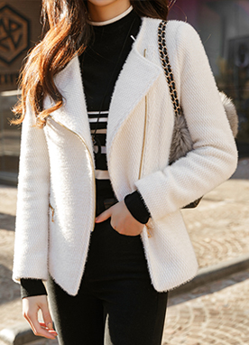 Snow Brushed Biker Jacket, Styleonme