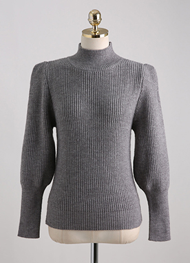 Puff Sleeve Thick Ribbed Jumper, Styleonme