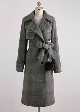 Glen Check Trench Coat with Fur Ball Accessory, Styleonme