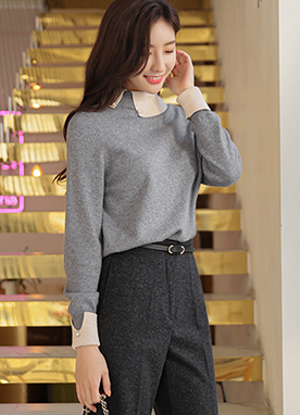 15 Wool Blend Pearl Button Preppy Knit Top, Styleonme