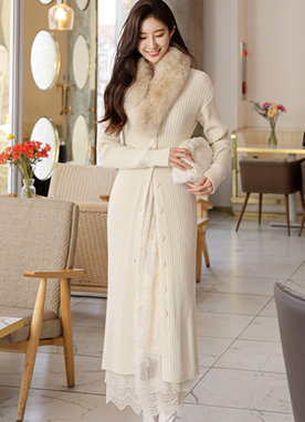 Vertical Ribbed Knit Cardigan Dress, Styleonme