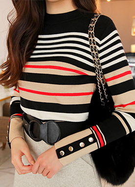 Colored Stripe Mock Neck Knit Top, Styleonme