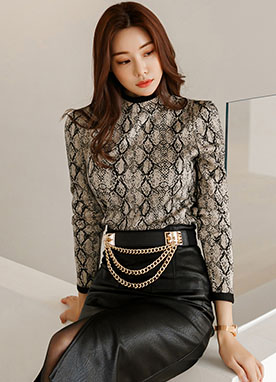 Unique Pattern Puff Shoulder Knit Top, Styleonme