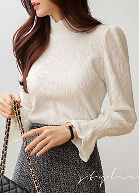 Puff Sleeve Shirred Velvet Turtleneck Blouse, Styleonme