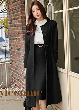 Luxe Silhouette Belted Collarless Coat, Styleonme