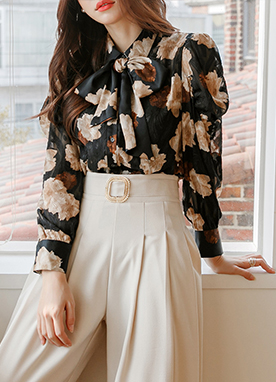 Brushed Rose Print Tie Blouse, Styleonme