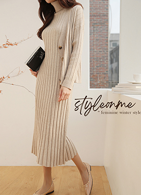 Thick Ribbed Dress and Cardigan Set, Styleonme