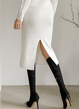 Slender Body Cable Knit Dress, Styleonme