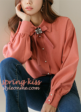 Loose fit Corduroy Shirt with Pastel Ribbon Brooch, Styleonme