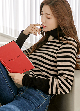 Puff Sleeve Stripe Knit Top, Styleonme