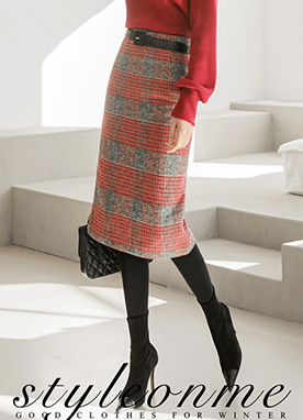 Red Check Midi Pencil Skirt, Styleonme