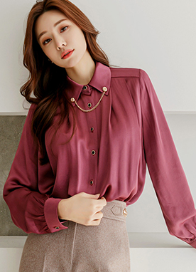 Gold Chain Necklace Luxe Color Satin Shirt, Styleonme