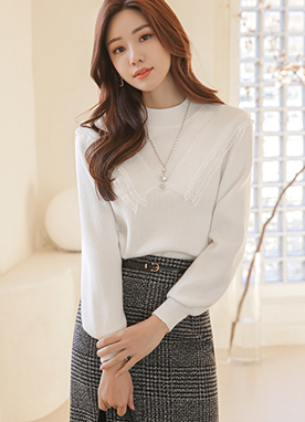 Lace Combined Mock Neck Knit Top, Styleonme
