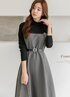 Check Print Combined Flare Dress with Gem Belt, Styleonme