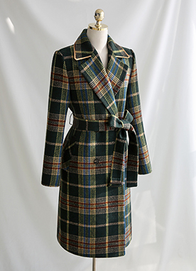 Green Belted Check Wool Coat, Styleonme